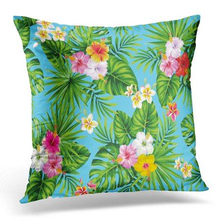 ARHOME Green Hawaiian Tropical with Palm Leaves and Flowers Aloha Pillows case 20x20 Inches Home Decor Sofa Cushion Cover