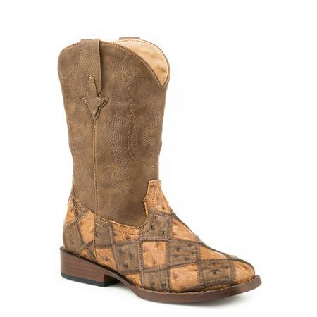 Roper Kids Boys Tan Faux Leather Bird Blocks Cowboy Boots 9 Boys Tan Leather