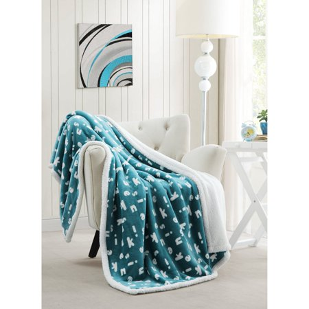B&m Short Throw - Mika Kensie 50 in. W x 60 in. L Sherpa Throw in Light Blue