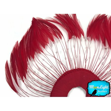 - 1 Piece - Red Half Beaded Pinwheel Stripped Rooster Hackle Feather Pads