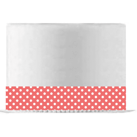 Deep Coral and White Polka Dot Edible Cake Decoration Ribbon -6 Slim Strips - Polka Dot Cake