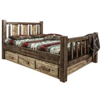 Montana Woodworks MWHCSBFSLLZWOLF Homestead Storage Bed with Laser Engraved Wolf Design, Stain & Clear Lacquer - Full Size