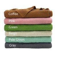"100% Cotton Soft Warm Knit Throw Blanket for Sofa Home Decor 50x 60"",Gray"