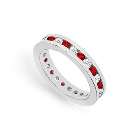 Diamond and Ruby Eternity Band 14K White Gold 1.00 CT TGW - image 1 of 2