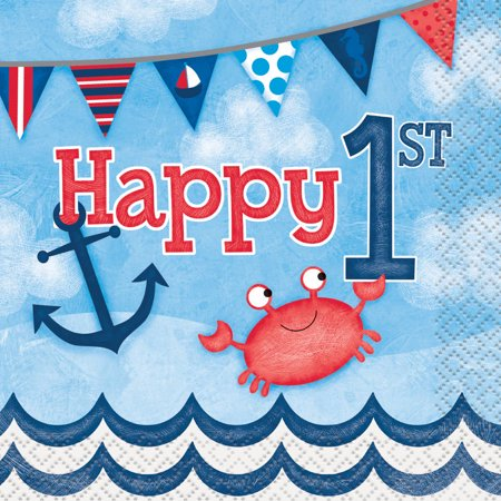 (3 Pack) Nautical Boys First Birthday Beverage Napkins, 16ct - Nautical Supplies