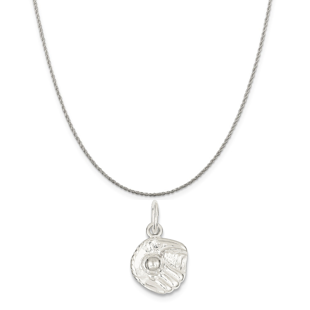 """Sterling Silver Baseball Glove Charm on a Sterling Silver Rope Chain Necklace, 18"""""""