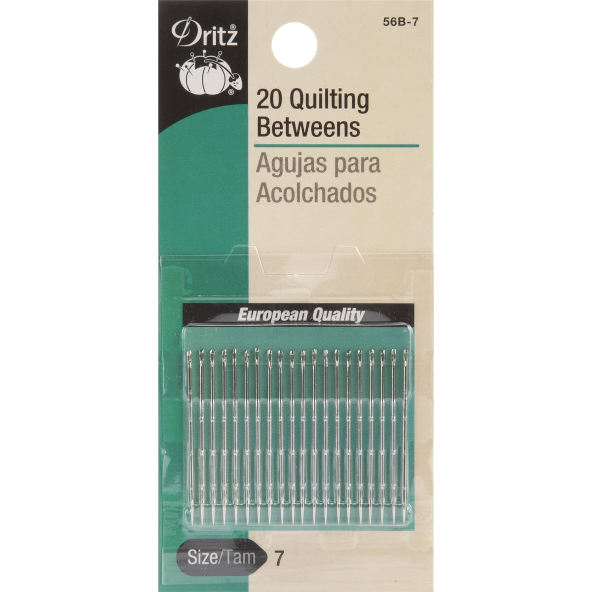 Dritz 20-Piece Quilting Between Hand Needles, Size 7 Multi-Colored