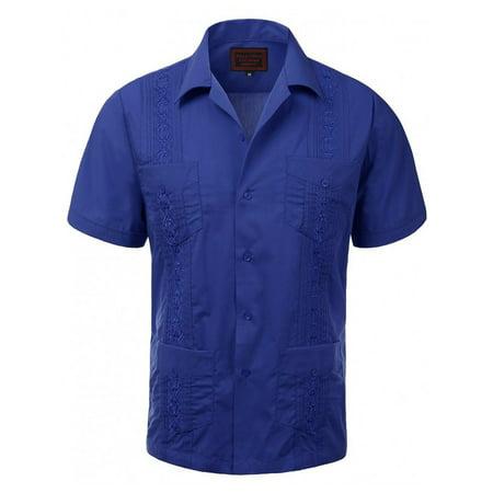 Guayaberas Men Short Sleeve Casual Cuban Beach Wedding Button-Front Dress - Cuban Guayabera Shirt