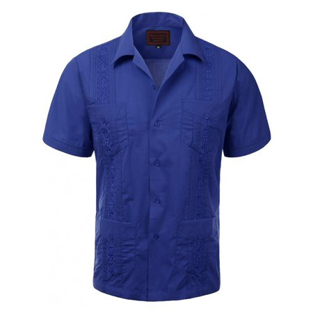 Guayaberas Men Short Sleeve Casual Cuban Beach Wedding Button-Front Dress Shirts