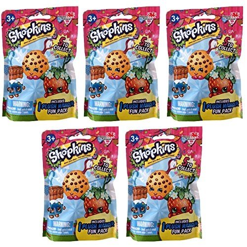 Shopkins Collectible Plush - Hangers - Series 1 - 5 PACK LOT (5 Plush Hangers)