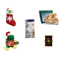 """Christmas Fun Gift Bundle [5 Piece] - Be Jolly Sparkle Stocking 19"""" - Blonde & Red Head Angel Child Resin Figurine 3.5"""" - Party Expressions Plastic Table cover 54"""" x 108"""" Rectangle -  Santa Frog  Gi"""