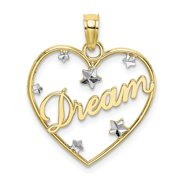 FB Jewels 10K White and Yellow Two Tone Gold Dream In Heart Frame with Floating Diamond-cut Star Accents Pendant