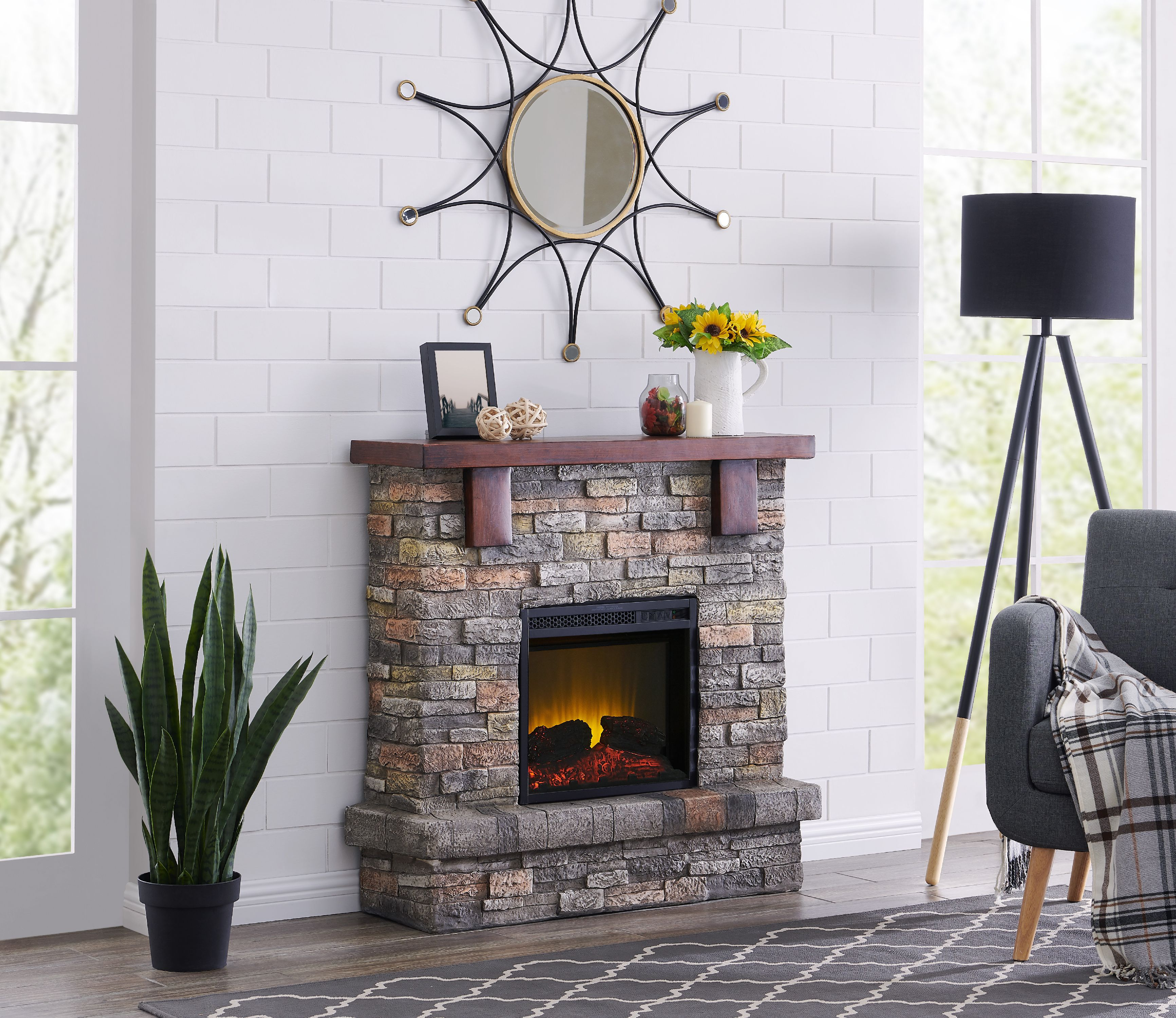 Bold Flame 40 Inch Faux Stone Electric Fireplace In Brown