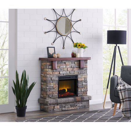 Bold Flame 40 inch Faux Stone Electric Fireplace in Brown - Fire & Flames