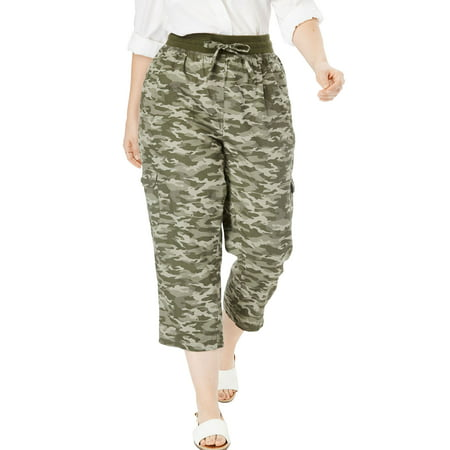 Woman Within Plus Size Petite Convertible Length Cargo Capri Pant ()