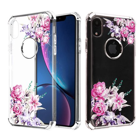 Love Protective Case (Apple iPhone XR (6.1 inch) Phone Case Tuff Hybrid Shockproof Impact Rubber Dual Layer Hard Soft Protective Hard Case Cover Transparent Love Roses Flowers Phone Case for Apple iPhone Xr / 6.1