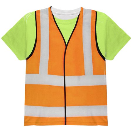Halloween Road Worker Construction Vest Costume All Over Youth T - Halloween Crossy Road