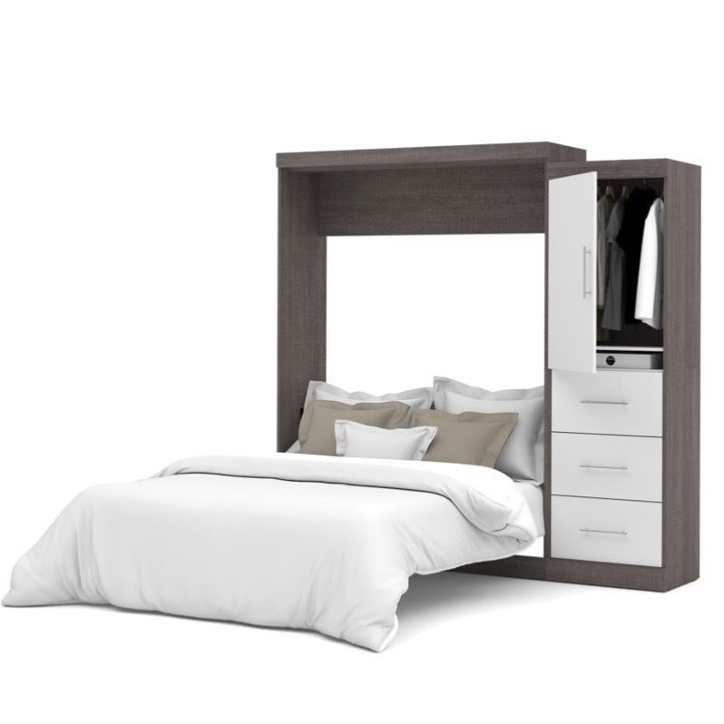 "Atlin Designs 90"" Queen Wall Bed Kit in Bark Grey and White"