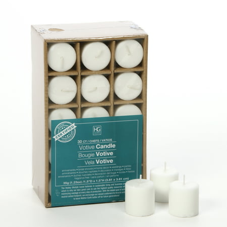 Hosley's Set of 30 Unscented Votive Candles.   O2 (30 Candles)