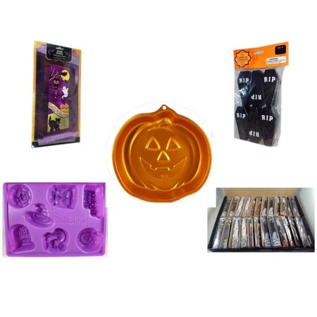 Halloween Fun Gift Bundle [5 Piece] - Happy  Door Panel - Tombstone Containers Party Favors 6 Count - Wilton Iridescents Jack-O-Lantern Pan - Happy  Jell-O Mold - Large Box  Wooden Craft Stick Figur for $<!---->