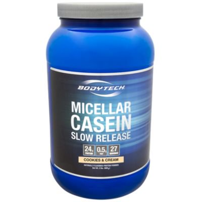 BodyTech Micellar Casein Protein Powder, Slow Release for Overnight Muscle Recovery  24 Grams of Protein per Serving  Cookies  Cream (1.86