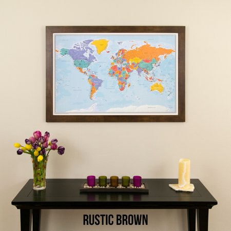 Blue Ocean World Push Pin Travel Map With Rustic Brown Frame