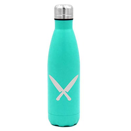 Jeep Double Light Knife - MIP Brand 17 oz. Double Wall Vacuum Insulated Stainless Steel Water Bottle Travel Mug Cup Chef Knives (Light-Blue)