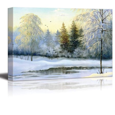 Landscape Canvas Prints (Canvas Prints Wall Art - Beautiful Winter Landscape, Canvas, Oil - 24