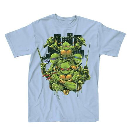 Teenage Mutant Ninja Turtles Turtle Power Mens Light Blue T-Shirt | - Blue Ninja Turtle
