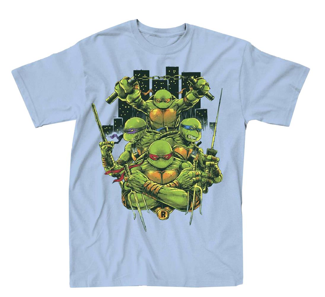 Teenage Mutant Ninja Turtles Turtle Power Mens Light Blue T-Shirt | 2XL