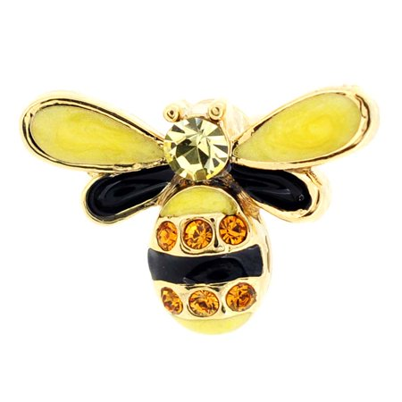 Bee Pin Jewelry - Golden Bee Bug Swarovski Crystal Lapel Pin