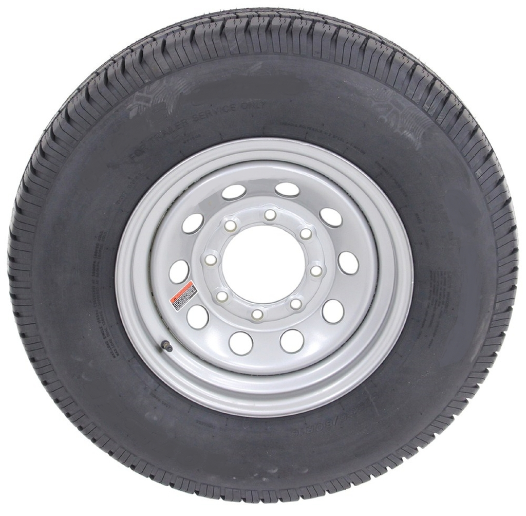 2-Pack Radial Trailer Tires w/Silver Rims ST235/80R16 LRE...
