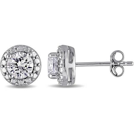 Miabella 1-1/3 Carat T.G.W. Created White Sapphire Sterling Silver Halo Stud Earrings