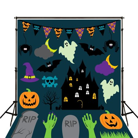 GreenDecor Polyster Cartoon Halloween Background for Photo Studio Photo Backdrop 5x7ft Black City Ghost Backdrops for Kids Party Studio Backgrounds (Halloween Studio City Ca)