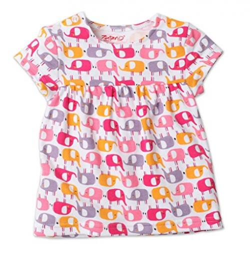 Zutano Short Sleeve Peasant Top, Ellas Elephants, 18 Months