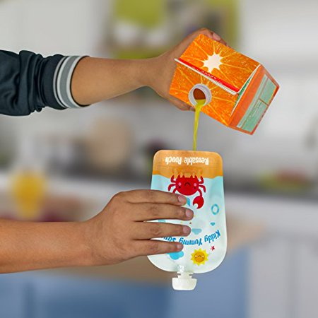 Reusable Food Pouch - Refillable Baby Squeeze Pouches Kids of All Ages Love, Pack of 6 Large Pouches - image 5 of 8