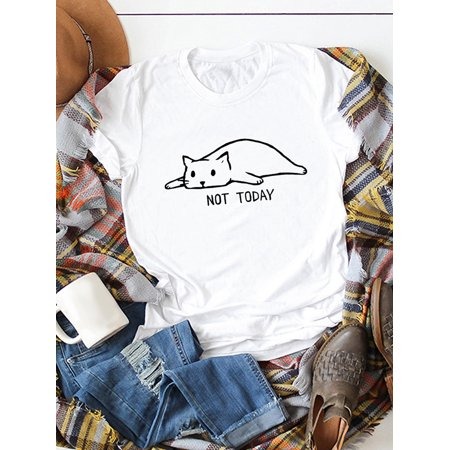 Funny Women T-shirt Not Today Cartoon Cat Letters Print Cotton Round Neck Short Sleeve Casual Tops - image 3 de 5