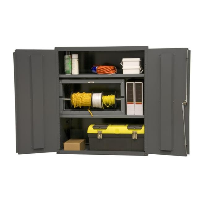 14 Gauge Flush Door Style Lockable Shelf Cabinet with 2 Adjustable Shelves, Gray - 36 x 24 x 42 in.