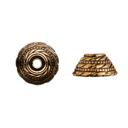 - Twist Cut Out With Beaded Lines Antique Copper-Plated Bead Cap Fits 16-18mm Beads 16x16mm 4pcs per pack
