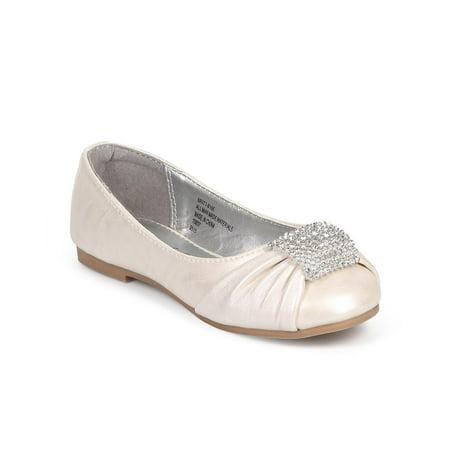 Little Angel DB77 Leatherette Round Toe Rhinestone Brooch Ballerina Flat (Toddler/ Little Girl/ Big Girl)](Flats For Little Girls)