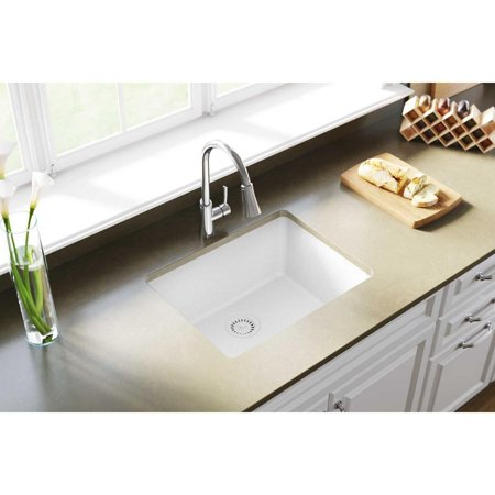 Elkay Quartz Clic 24 Rectangular Undermount Single Bowl Kitchen Sink White