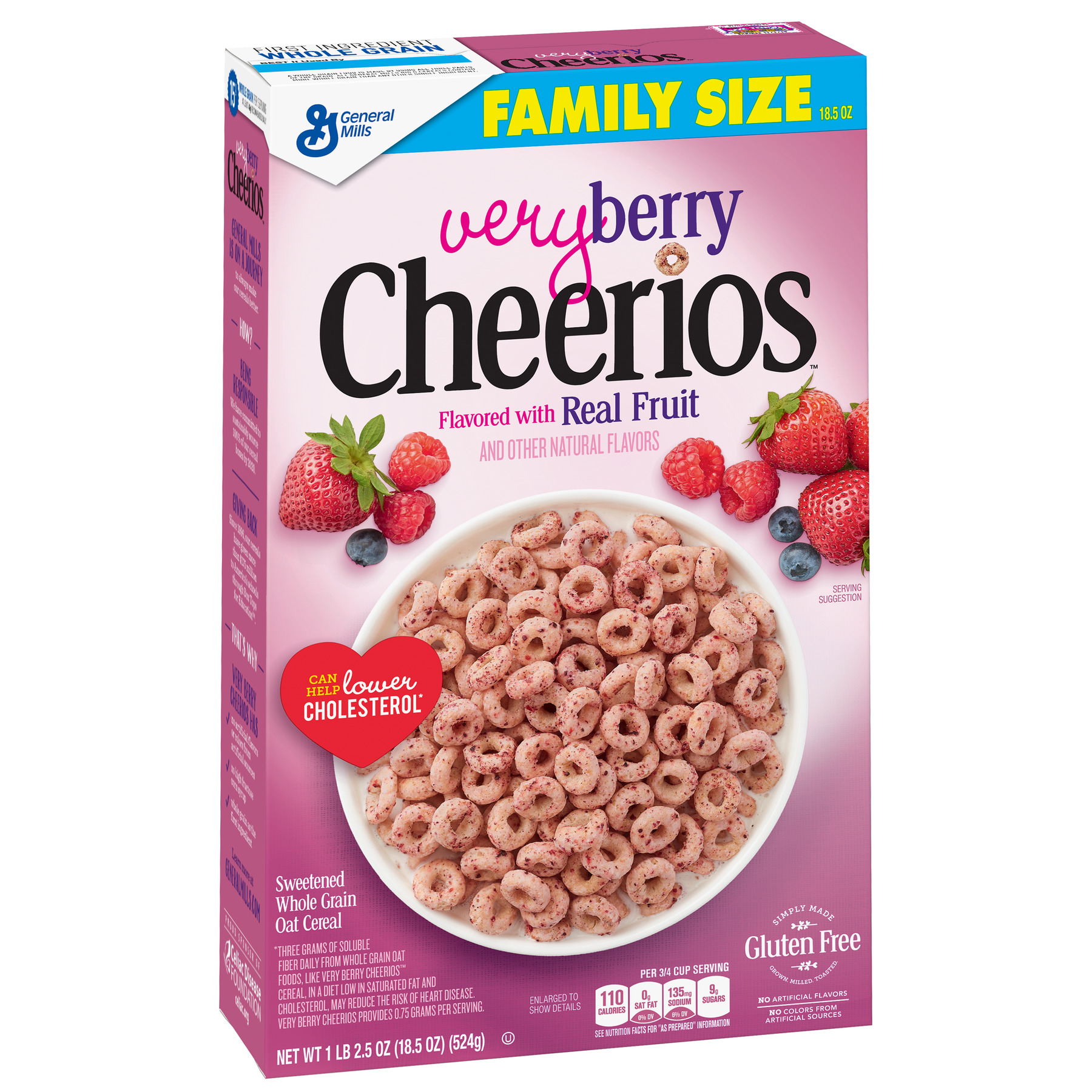 Very Berry Cheerios Gluten Free Cereal, 18.5 oz Box