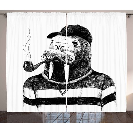 Indie Curtains 2 Panels Set, Hand Drawn Dressed Up Walrus Animal Long Teeth Smoking Pipe Antromorphic Sketch Art, Window Drapes for Living Room Bedroom, 108W X 84L Inches, Black White, by Ambesonne