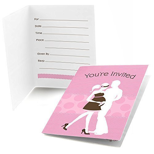Silhouette Couples Baby Shower - It's A Girl - Fill In Baby Shower Invitations (8 count)