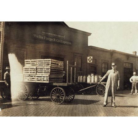 Expressmen 1916 Nexpressmen In Front Of A Wells Fargo   Company Express Depot With Carts Loaded With Crates And Milk Cans In Springfield Missouri Photograph By Lewis Hine August 1916 Rolled Canvas Art