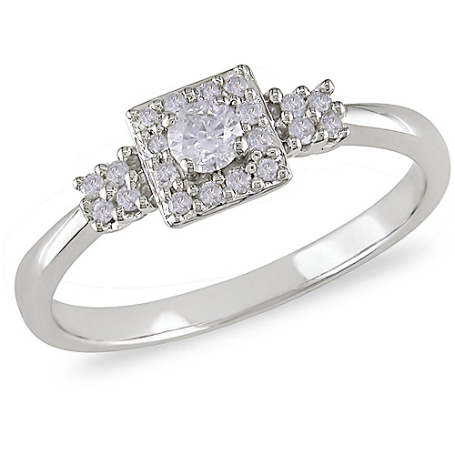 1/4 Carat T.W. Diamond Square-Halo Engagement Ring in 10k White Gold