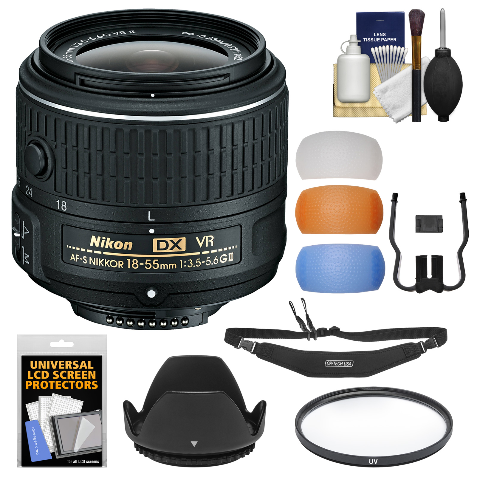 Nikon 18-55mm f/3.5-5.6G VR II DX AF-S Zoom-Nikkor Lens - Factory Refurbished with 3 Flash Diffusers + Filter + Hood + Strap + Kit