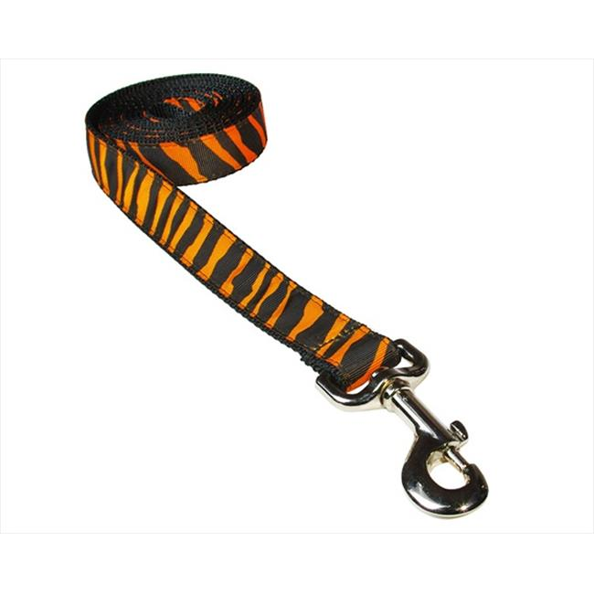 ZEBRA-TANGERINE-BLK.3-L 6 ft. Zebra Dog Leash, Tangerine & Black - Medium