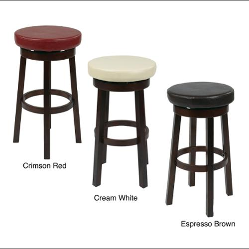 Office Star Products Round Faux Leather Seat And Circular
