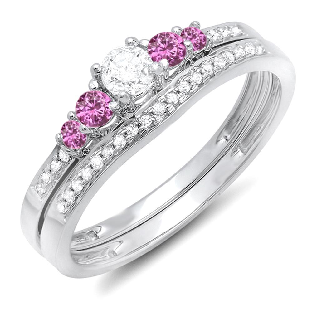 14K White Gold Round Pink Sapphire And White Diamond 5 Stone Bridal Engagement Ring Matching Band Set by DazzlingRock